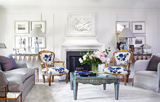 Blue and White Traditional Home Den