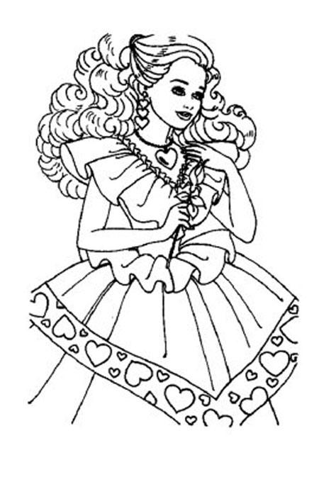 بنت جميلة تحمل الورد للتلوين