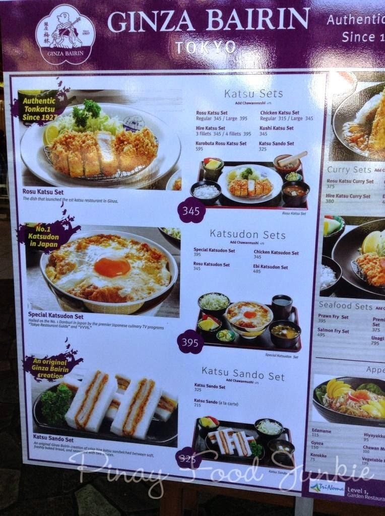 Tonkatsu Ginza Bairin Menu Singapore Ginza Bairin Menu