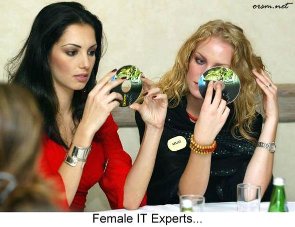 funny picture, female, IT experts, CD's