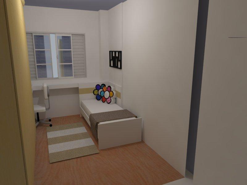 Dicas de decoração e projetos 3D Ambientes pequenos ~ Quarto Solteiro Com Banheiro
