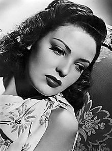 Vintage black and white photo of actress Linda Darnell