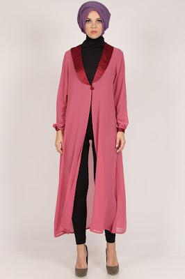 Model Cardigan Muslimah Panjang Warna Pink