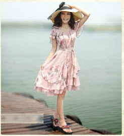 Lotus Sleeve Vintage Rose Chiffon Knee Length Multi-Layered Dress