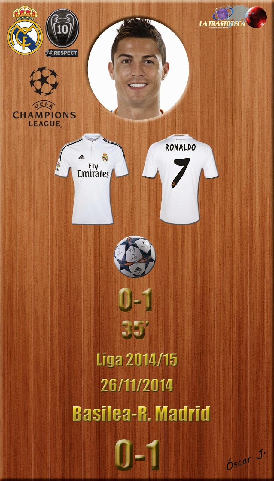 Cristiano Ronaldo - (0-1) - Basilea 0-1 Real Madrid - Champions League  2014/15 - Jornada 5 - (26/11/2014)