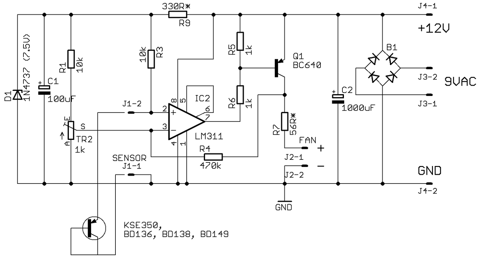 Diyfan Adjustable Lab Power Supply 12vdc Regulated With Schematic Diagram Share The May Be Supplied Ac Or Dc Voltage But Not Both Simultaneously If Is Then B1 C2 And J3 Omitted