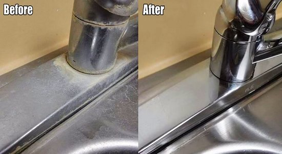 Remove hard water deposits on your faucets and sinks with this simple and cost free trick - Get rid limestone stains ...