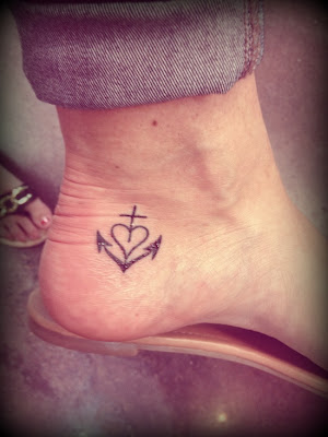 anchor with heart tattoo on ankle