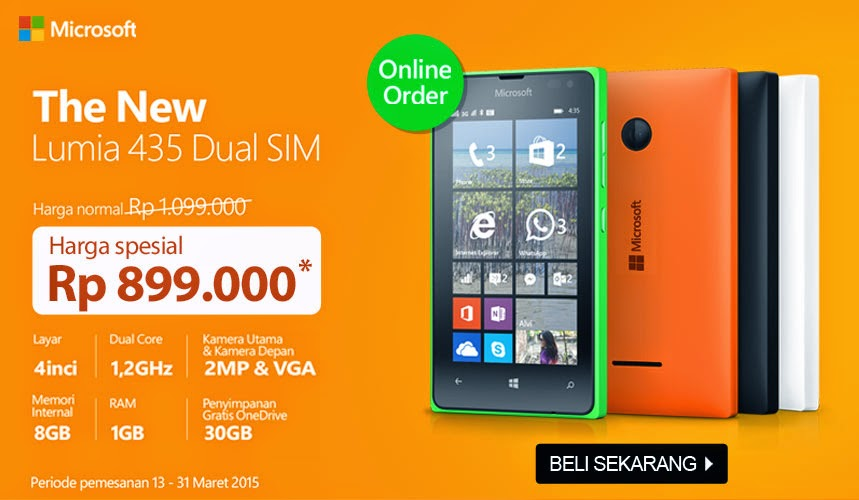 Microsoft Lumia 435 Dual SIM Harga Spesial Rp 899.000