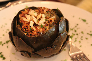 Stuffed artichoke at Pulcinella Mozzarella Bar and Restaurant, Boston, Mass.