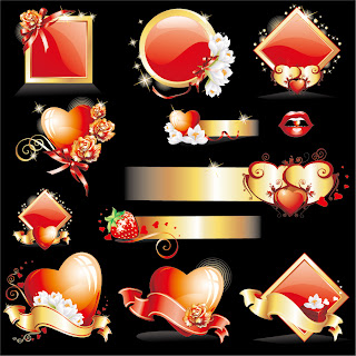 バレンタインデーのロマンス アイコン Valentine's Day romance icons イラスト素材