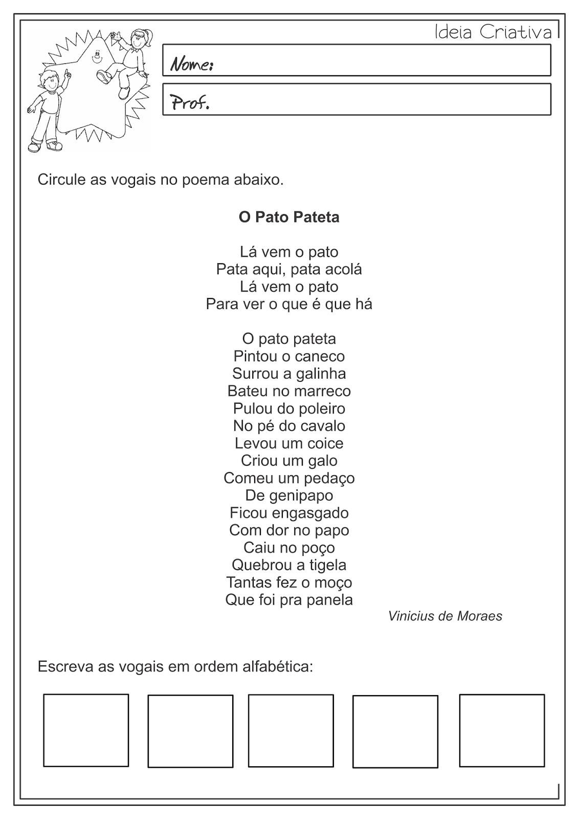 Atividades Educativas Vogais Língua Portuguesa 3° ano Fundamental