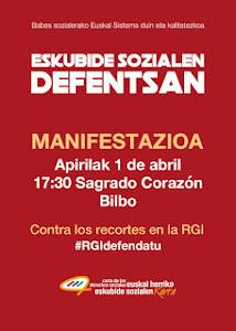 1 de Abril. Manifestación en Bilbao en defensa de los derechos sociales