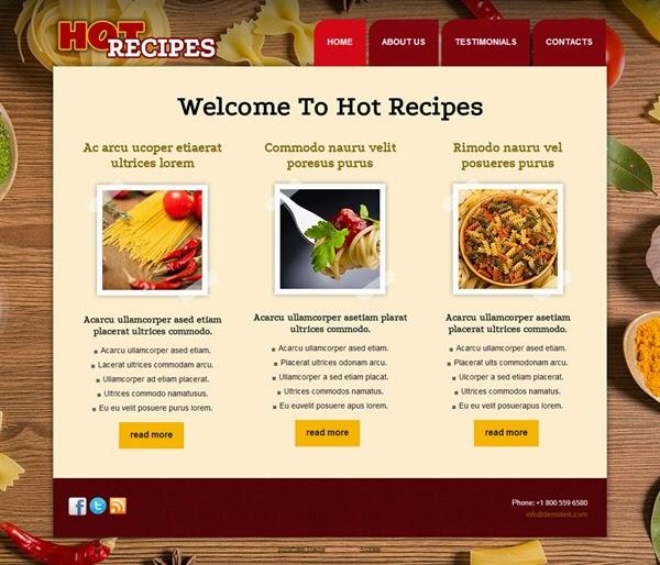 Hot Recipes - Free Wordpress Theme