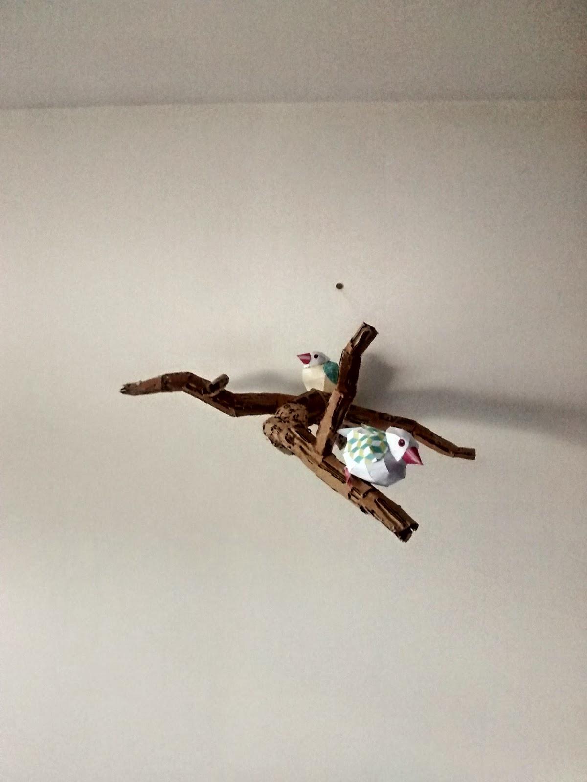 moineaux java oiseaux papier collage branche carton déco DIY epate moi