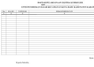 Daftar Pelaksanaan Ekstra Kurikuler