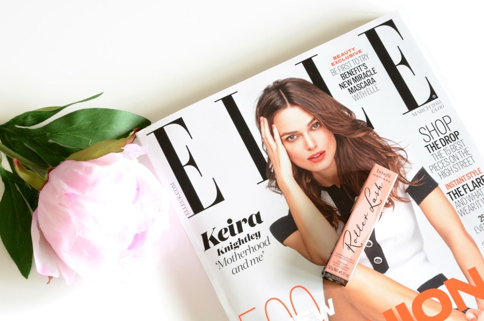 benefit, roller lash mascara, elle magazine, free tester, review