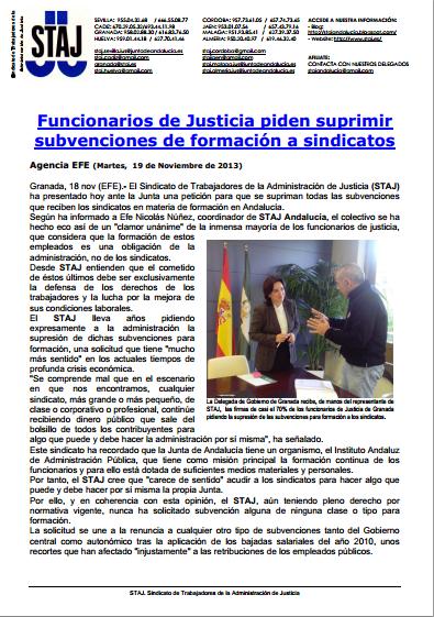 Funcionarios de Justicia pide supresión subvenciones a sindicatos
