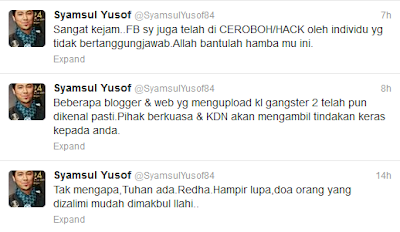 Facebook Syamsul Yusof Kena Hack
