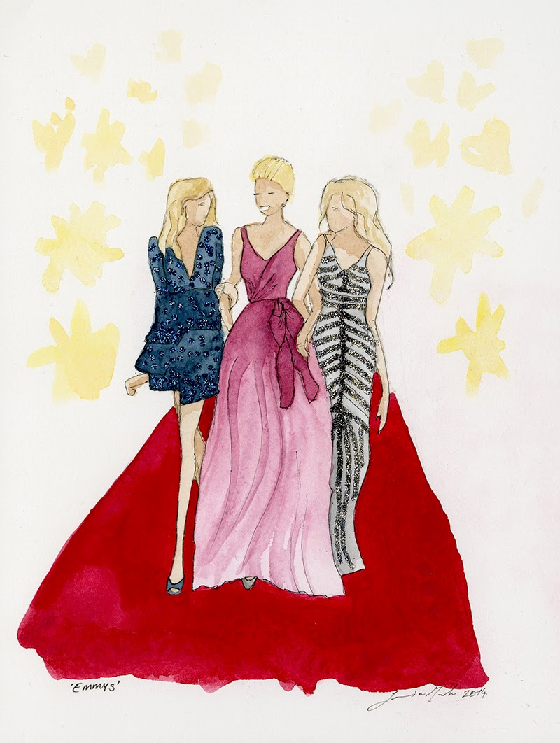 Watercolor fashion illustration sketch of the 2014 Emmys gowns by Jessica Mack aka BrownPaperBunny