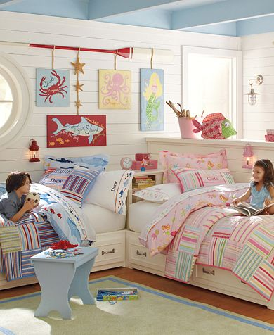 Shared kids rooms boy girl rooms design dazzle for Pottery barn kids room ideas