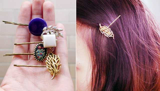 repurposing earrings as hair pins