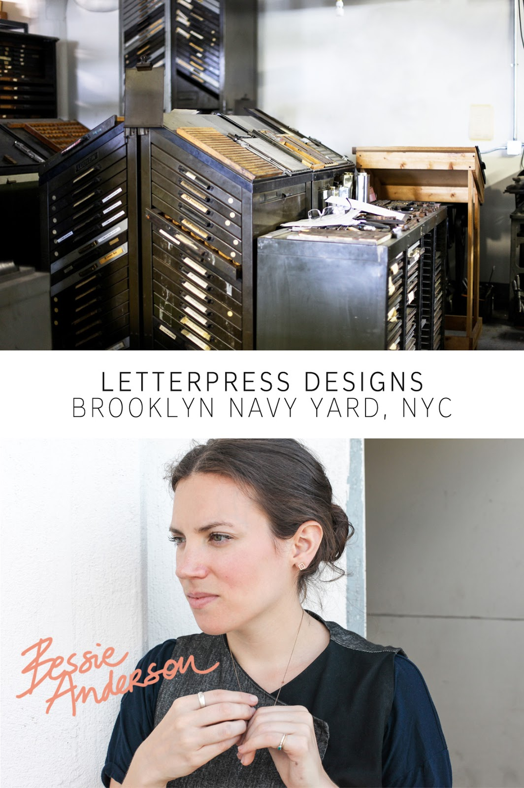 b.impressed bessie anderson one more good one onemoregoodone letterpress designer antique printing press brooklyn navy yard bespoke stationary