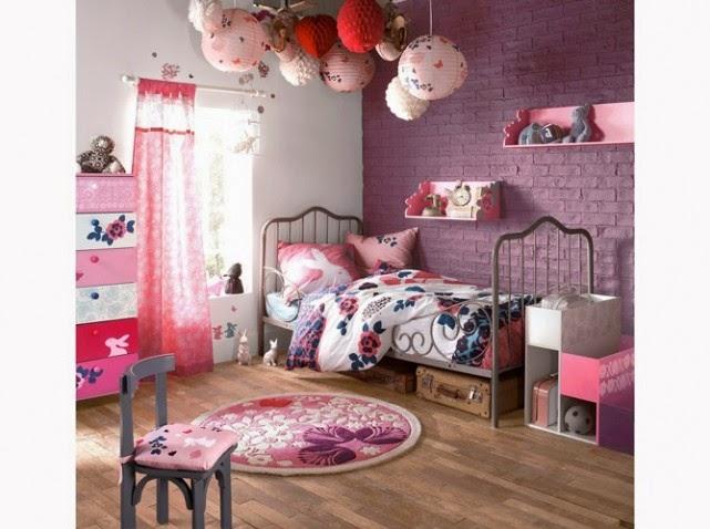 Lindo dormitorio para niña decorado con morado y rosa . Combinación ...