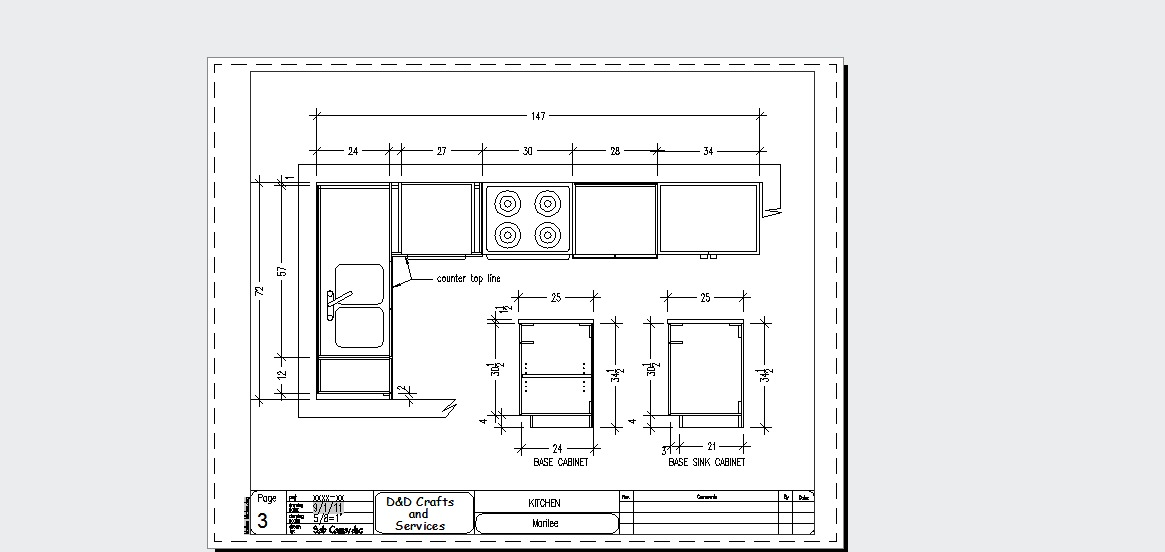 autocad drafting and design kitchen sample
