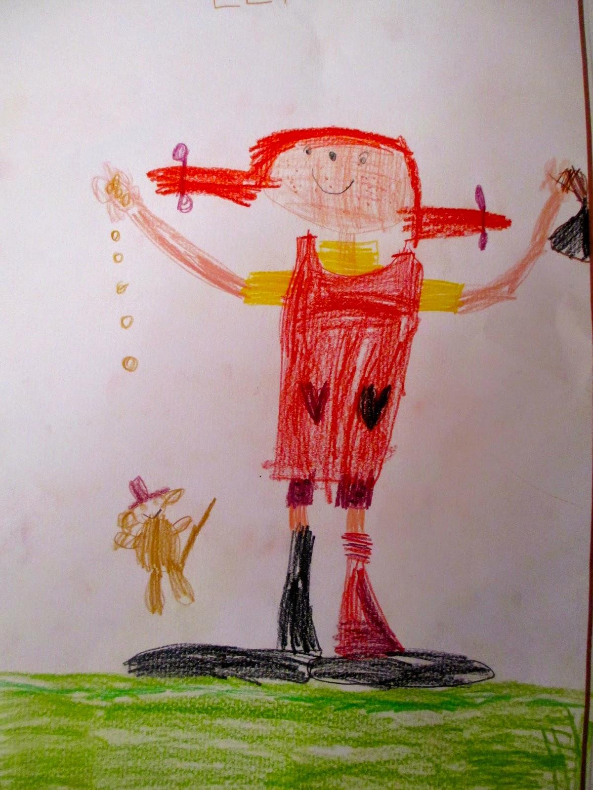 Pippi Langstrumpf im Kindergarten gezeichnet