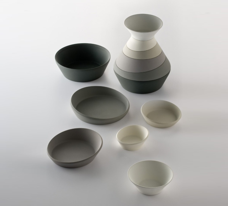 minimal serving plates in shades of grey