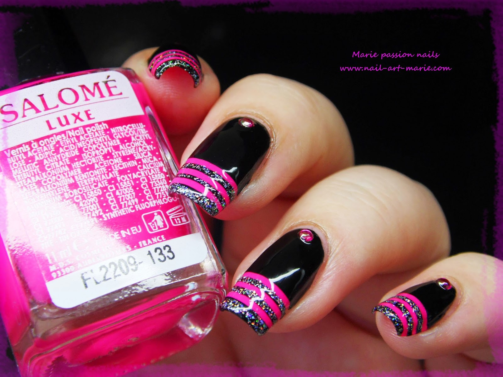 nail art french en rayures fluo7