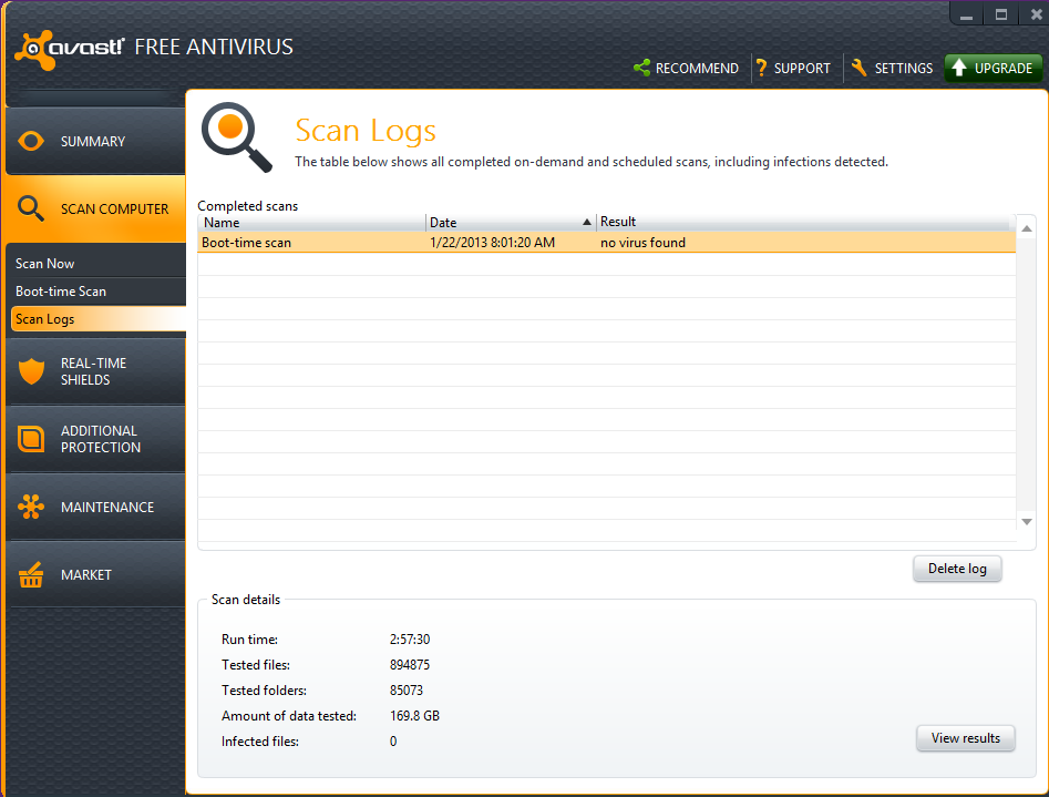 how to find avast boot time scan text reports