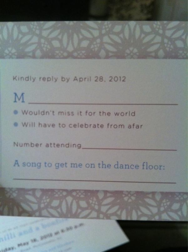Word Wedding Invitation Response Card