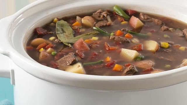 Slow Cooker Beef Vegetable Soup #healthyvegetablesoup