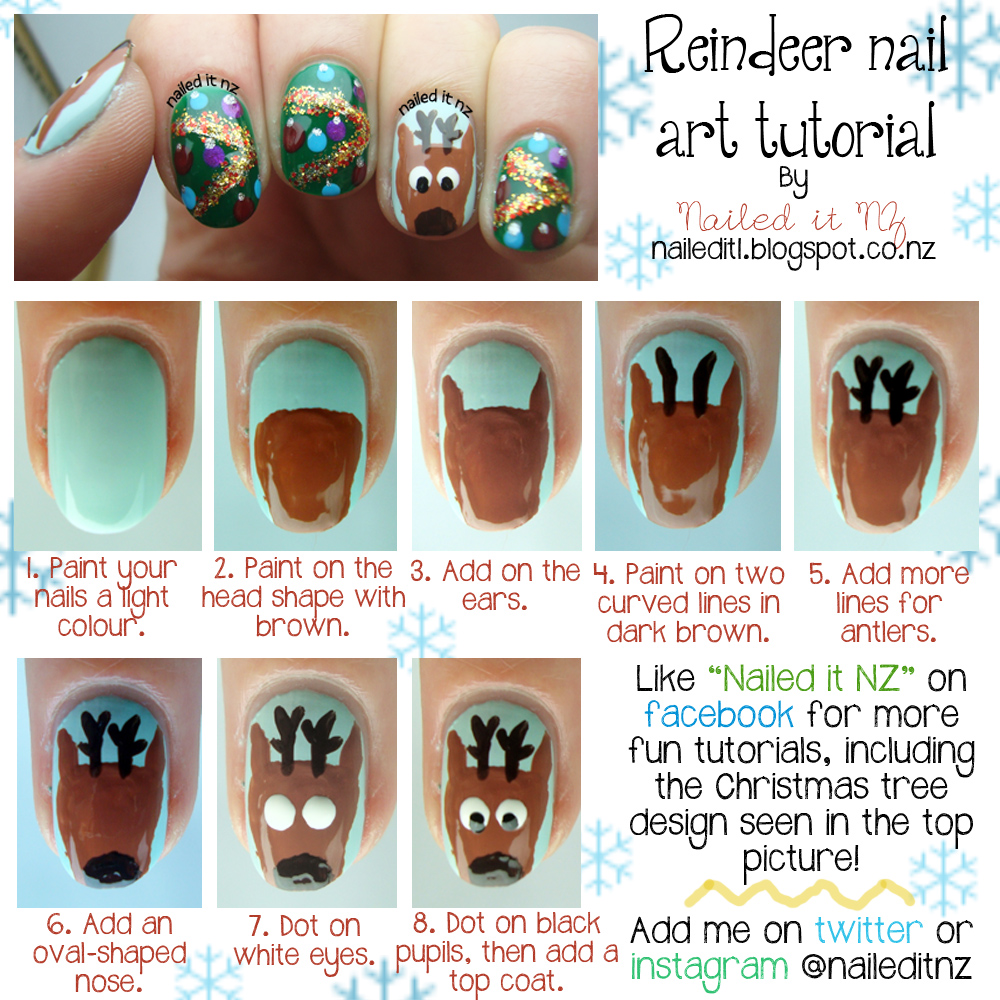 Reindeerg another christmas nail art tutorial this one is featuring as a guest post over at the manicure hut so go check it out prinsesfo Images
