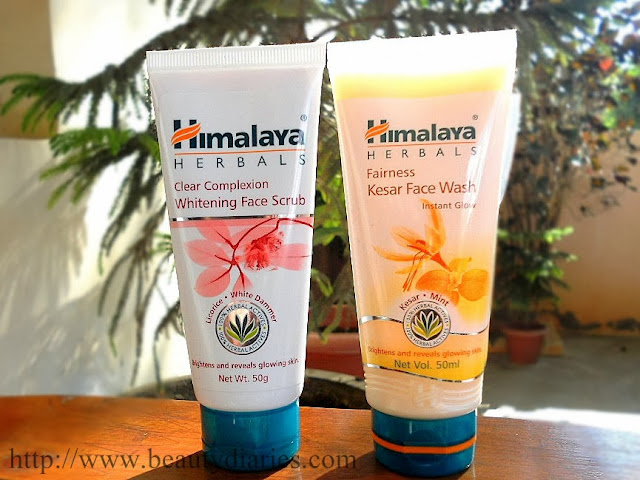 Himalaya Herbals Fairness Kesar Facewash  and Himalaya Herbals Clear Complexion Whitening Face Scrub