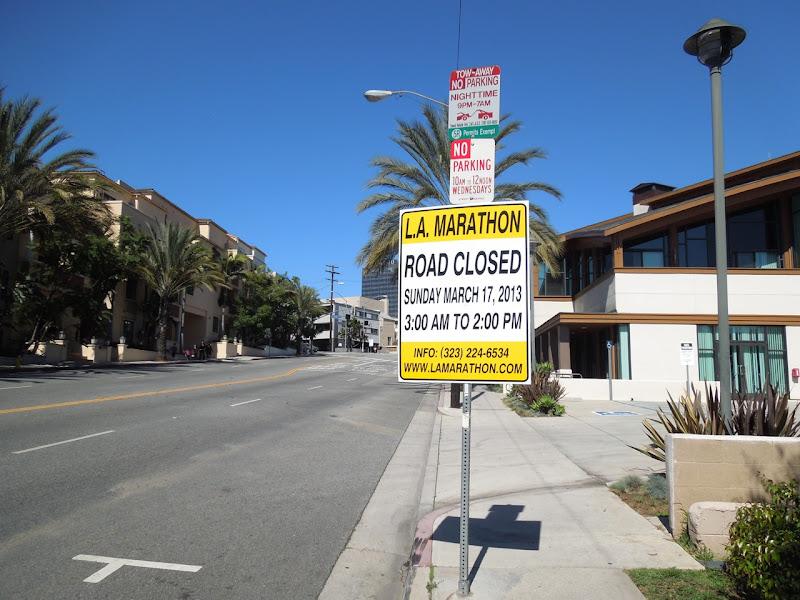 LA Marathon 2013 road closure sign San Vicente Blvd