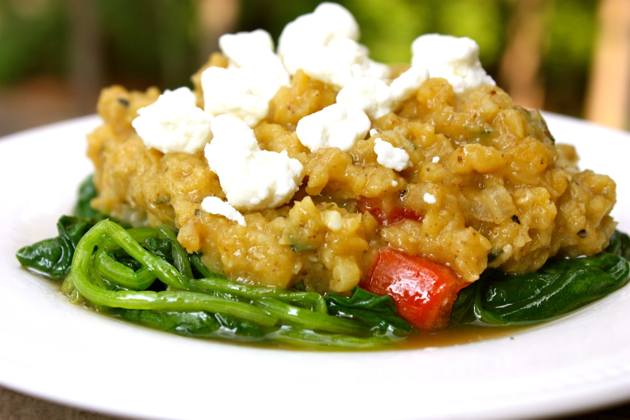 ... Private Kitchen: Warm Red Lentil and Spinach Salad with Goat Cheese