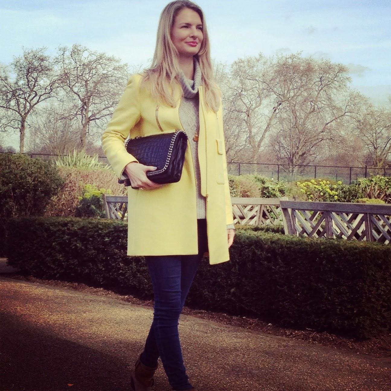 zara, zara coat, zara yellow coat, hyde park hyde park london