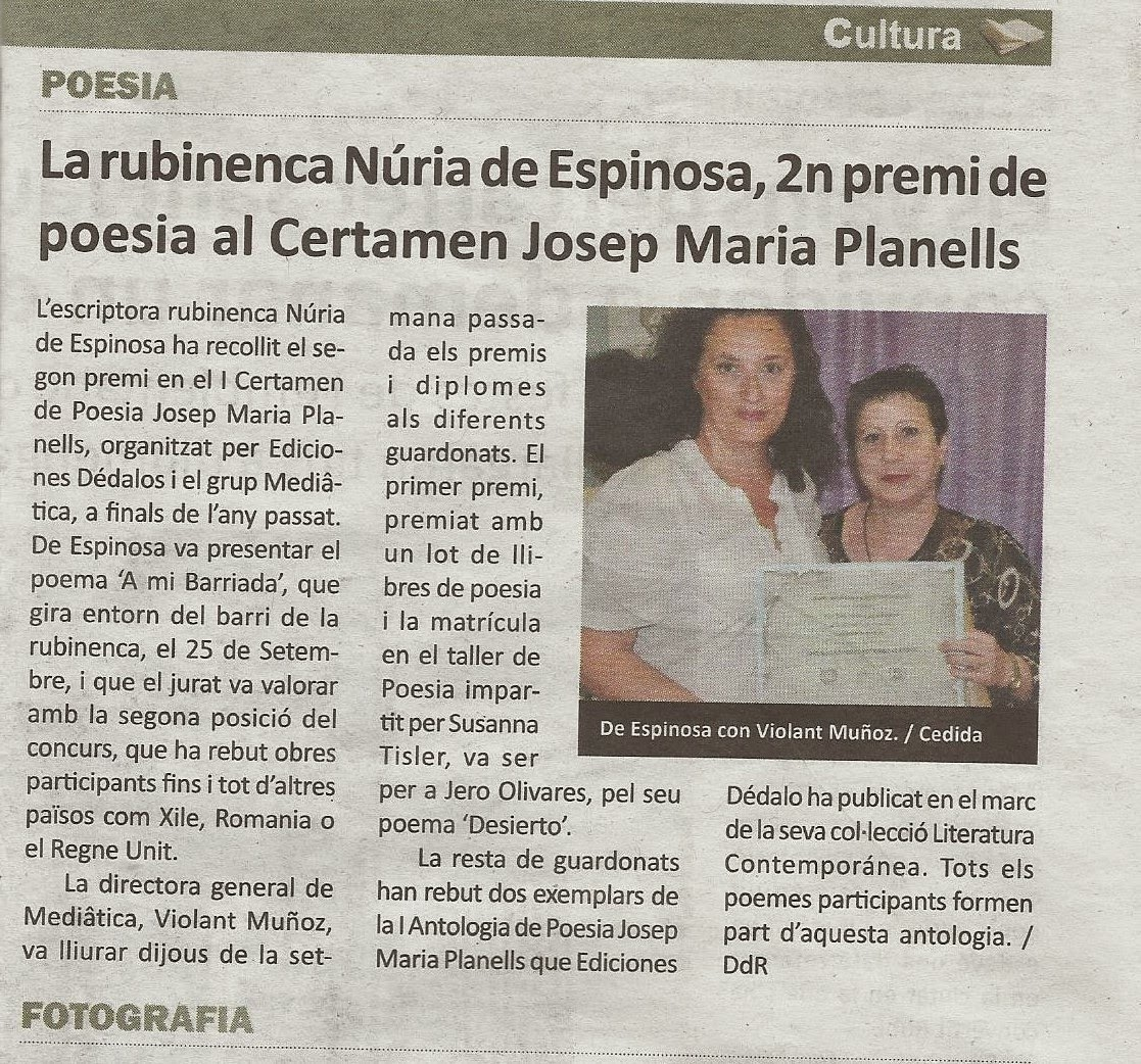 2ª Premio del I CERTAMEN DE JOSEP PLANELLS  2014
