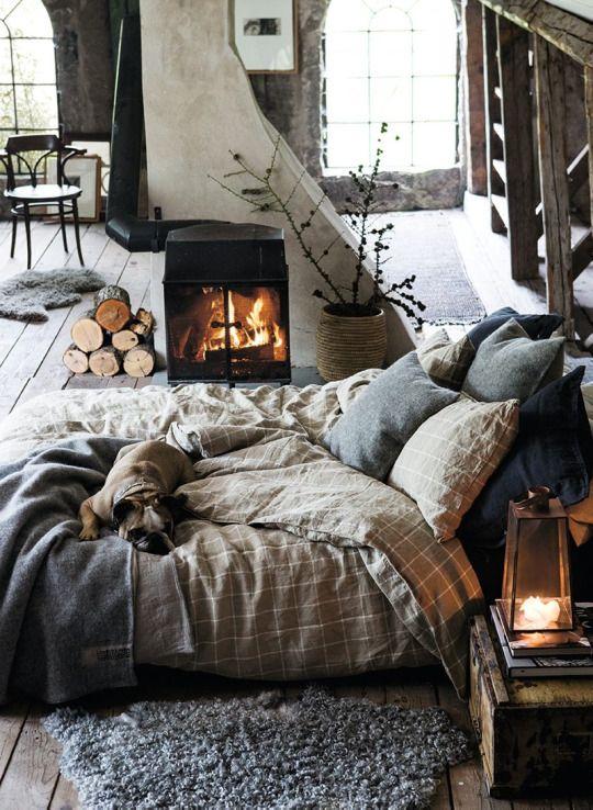 espaco-semana-decorar-quarto-cama-chao-lareira