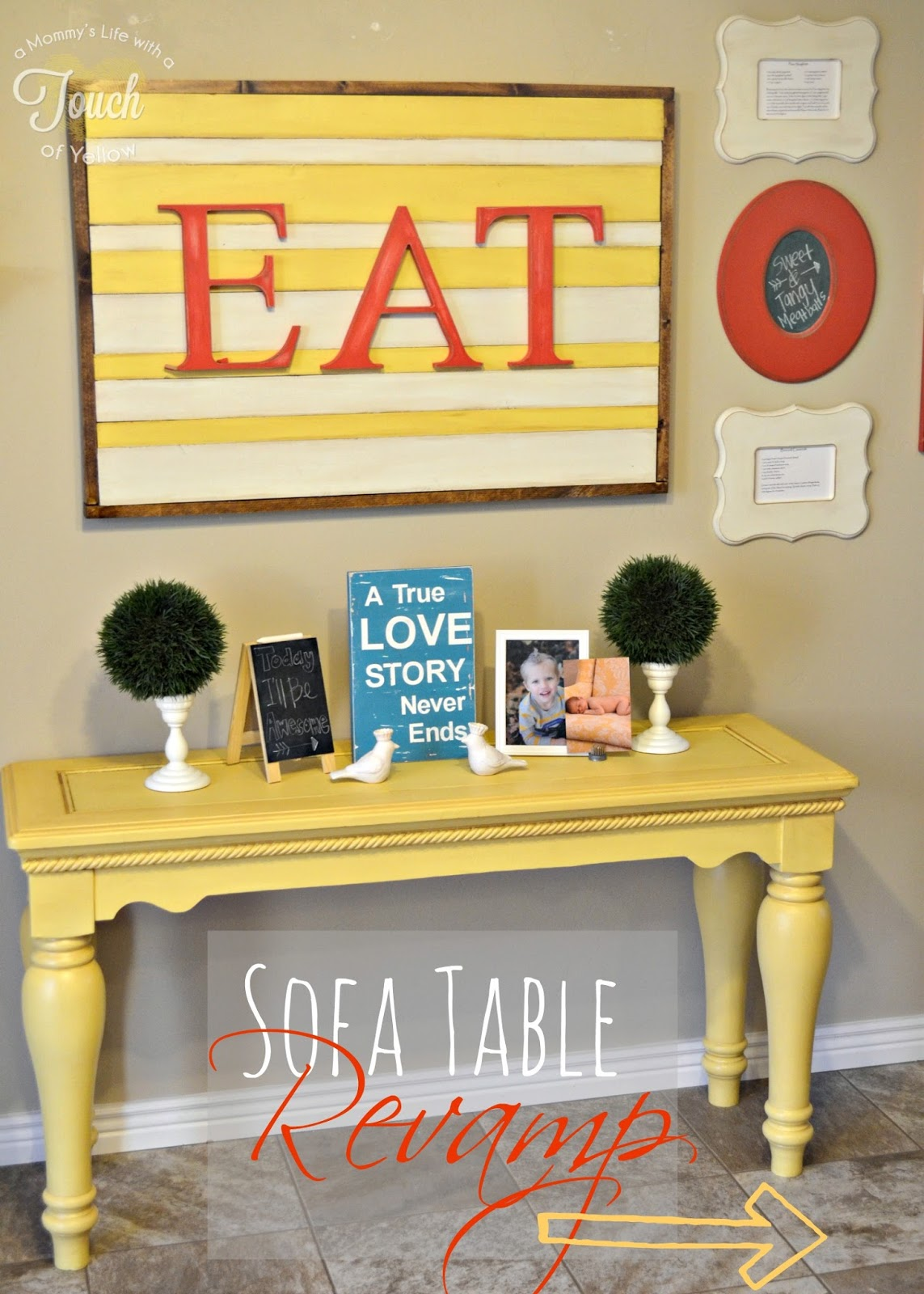 A mommy 39 s life with a touch of yellow sofa table revamp for Sofa table tutorial