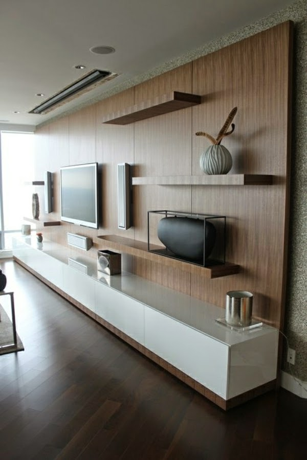 How to use modern tv wall units in living room wall decor for Simple lcd wall unit designs