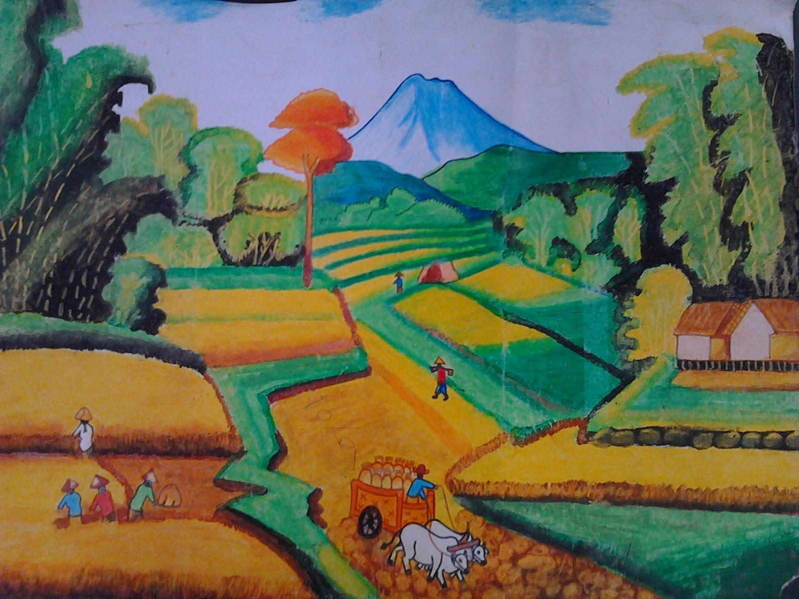 Lukisan Pemandangan Alam Pedesaan