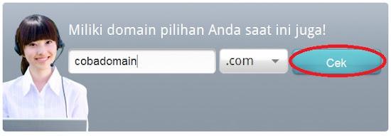 masukkan nama domain untuk memeriksa ketersediaan