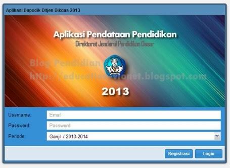 registrasi aplikasi dapodik 2013 1 klik menu aplikasi dapodik 2013