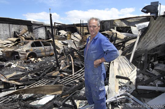 Owner Bill Russell talks about a fire in his paintshop at APEX Panelbeating and Spraypainting in Hastings. photograph