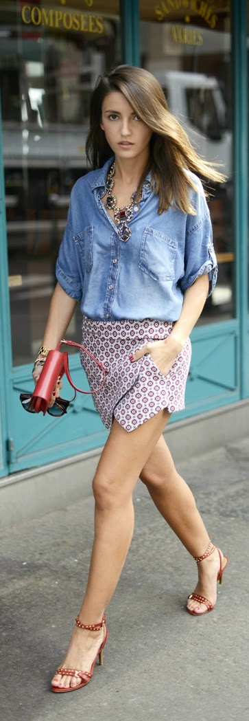 Chambray Loose Shirt , Zara Sexy Skirt with Studded Heels | Chic Street Outfits