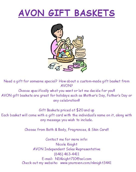 Avon representative n knight gift baskets need a gift check out the flyer its a great unique idea for any special occasionntact me for more info negle Images